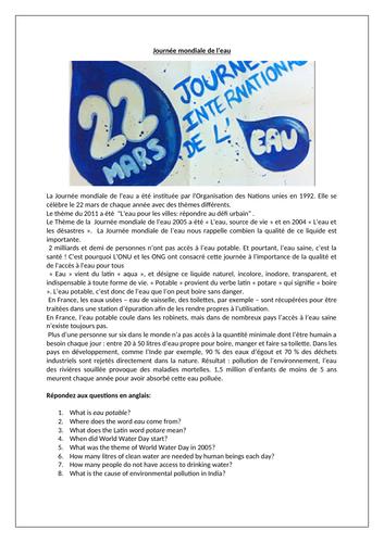 Journée Mondiale de l'Eau / World Water Day / Pollution / Environment