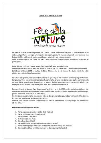 La fête de la Nature en France / Festival of Nature in France / Environment / Nature