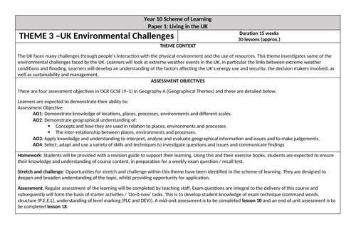 OCR GCSE 'UK Environmental Challenges' Scheme of Learning