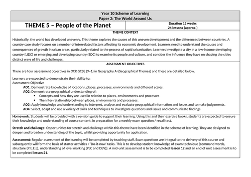OCR GCSE 'People of the Planet' Scheme of Learning