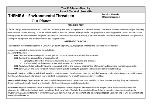 OCR GCSE 'Environmental Threats to Our Planet' Scheme of Learning
