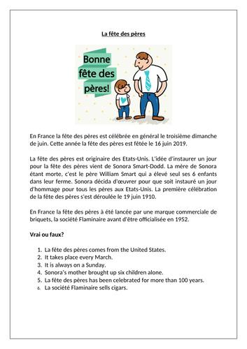 La fête des pères / Father's  Day
