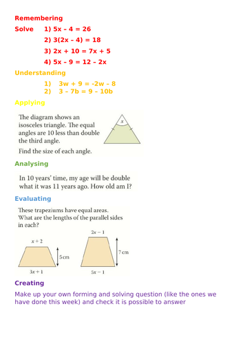 Blooms style Forming and Solving Equations