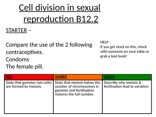 Cell division in sexual reproduction (Meiosis)