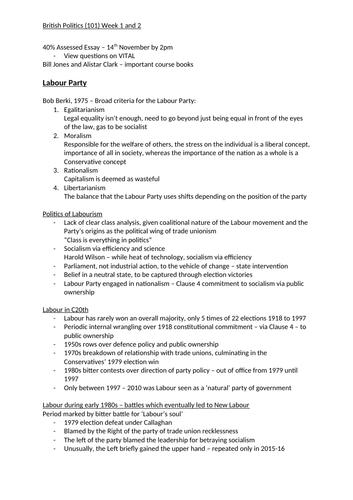 Labour Party Notes
