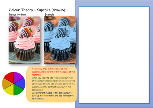 Colour Theory cupcake drawing worksheet