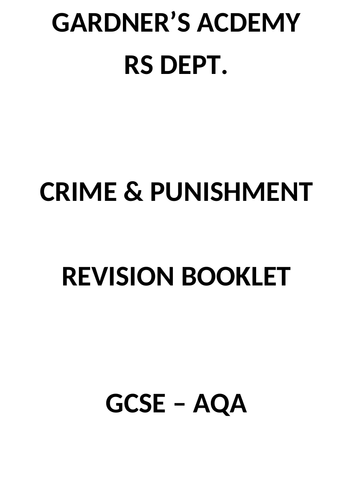 AQA 9-1 GCSE RS Crime and Punishment
