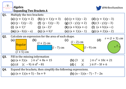 Expanding Two Brackets - Fluency: Area of Polygon and Factorising.