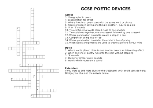 Literary Devices Crossword by beckbockk | Teaching Resources