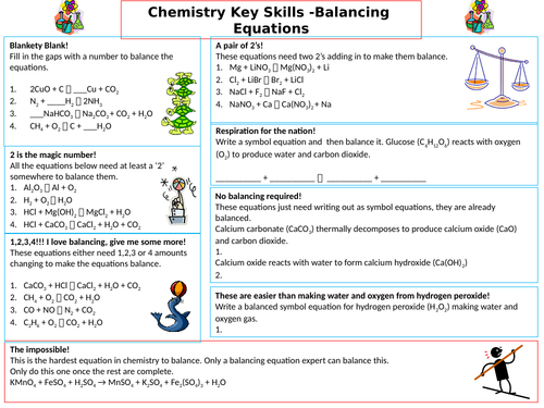 Balancing Chemical Equations - Differentiated and scaffolded worksheet