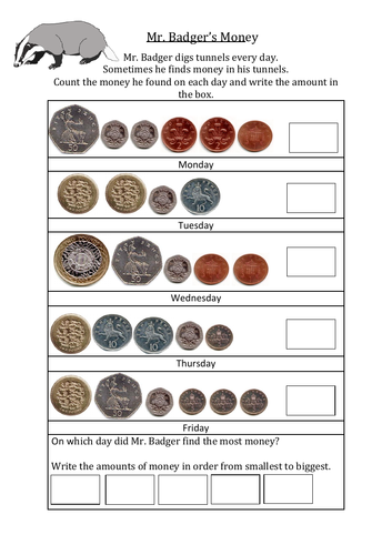 UK money worksheet