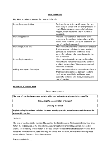 Rates of Reaction GCSE Science - 6 mark question skills