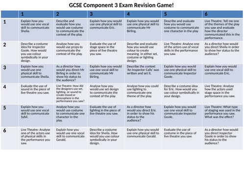 GCSE Drama Revision Game - An Inspector Calls