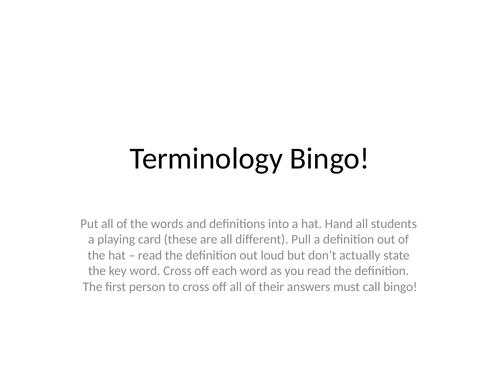 Drama Terminology Bingo!