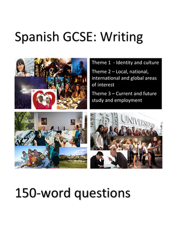 Spanish GCSE writing practice: 90-word and 150-word questions. Perfect for home learning.