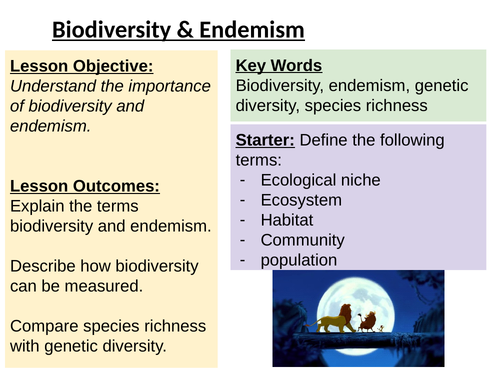 Biodiversity, speciation and endemism (Edexcel IAL 2018)