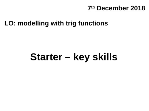 A2 Modelling with trig functions