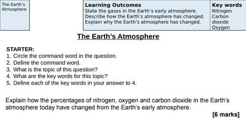 Development of The Earth's Atmosphere Revision (AQA New Specification 1-9)