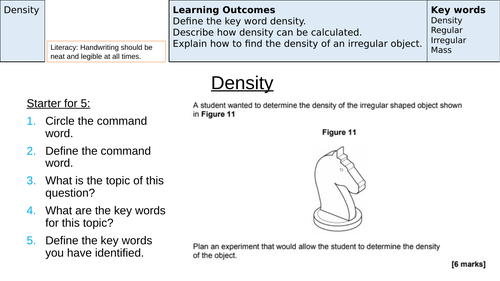 Density Revision (AQA New Specification 1-9)