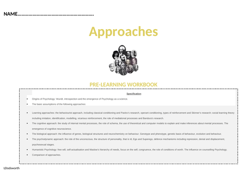 AQA Alevel Psychology - Approaches Pre-learning workbook