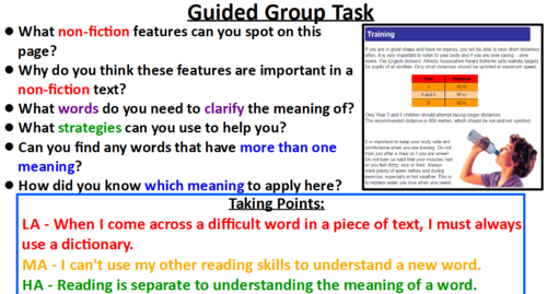 Guided Reading - Understanding Vocabulary strategies - LKS2