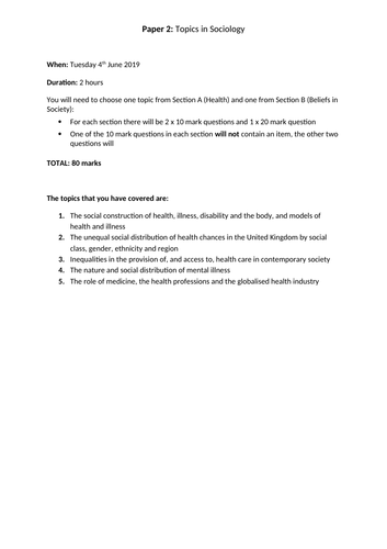AQA Sociology A Level Health checklist