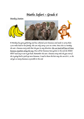 Zoo trip Mathematics - MATHS SAFARI -  MONKEY STATION