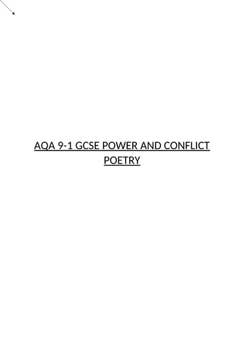 AQA GCSE ENGLISH LITERATURE: POWER AND CONFLICT POETRY