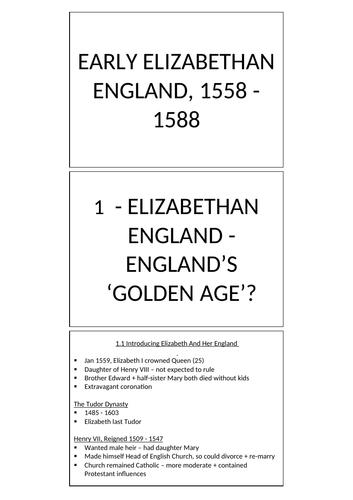 EDEXCEL GCSE HISTORY: EARLY ELIZABETHAN ENGLAND