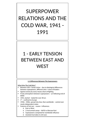 EDEXCEL GCSE HISTORY: SUPERPOWERS AND COLD WAR