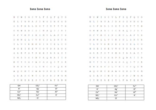 Ions wordsearch