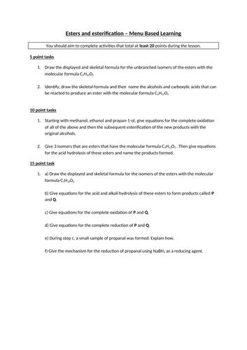 A Level Chemistry Esters and Esterification Resources - Organic Chem