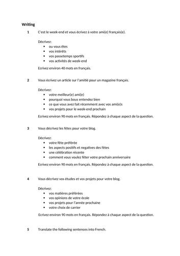 French GCSE exam-style writing