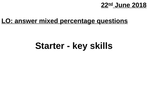 Mixed percentage questions + answers (relay)