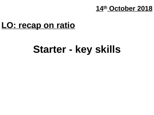 Differentiated ratio questions