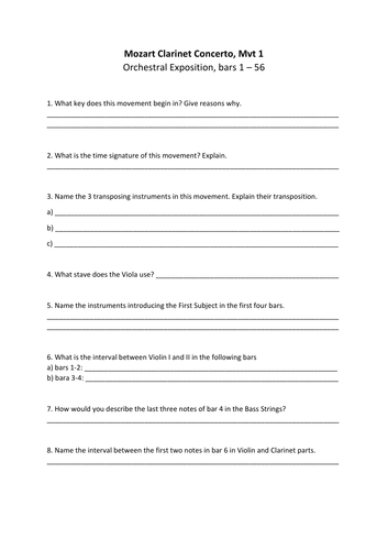 Mozart Clarinet Concerto Mvt 1 Worksheets