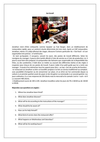 Au travail / Le petit boulot / At work / Part-time job / Jobs