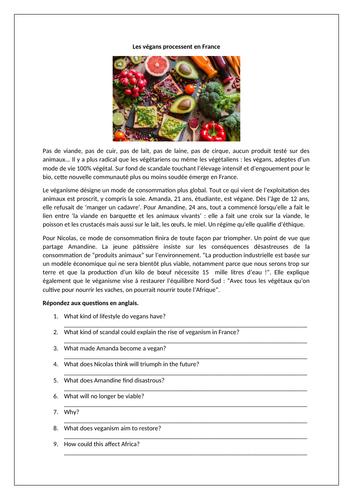 Les végans / Vegans / Veganism / Food / Healthy eating