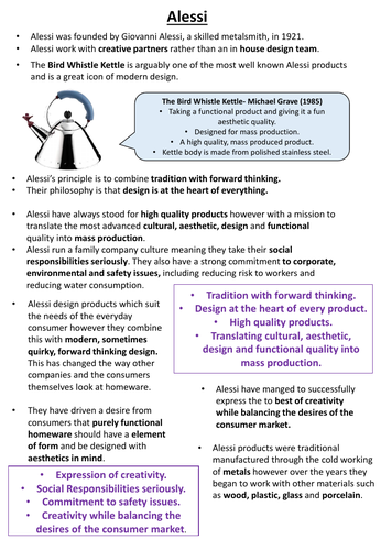 Summary Sheets On Two Companies and Designers - 'Work of Others' AQA GCSE Design and Technology