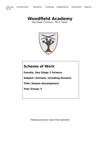 Year 5 Human Development whole module