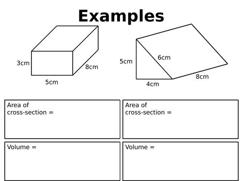 Volume of prisms revision