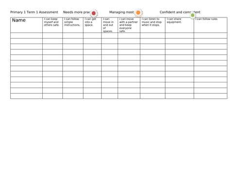 CfE Early Level P.E Assessment Tracking and Monitoring Sheets