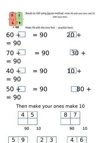 Bonds to 100 jigsaw numbers