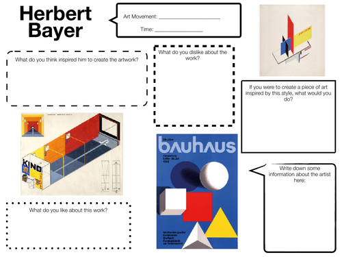 Artist & Designer Influences and Contexts Worksheets