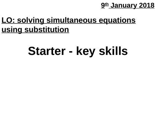 Solving simultaneous equations by substitution