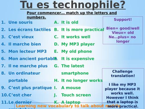 Tu es technophile? Tu t'en sers souvent?