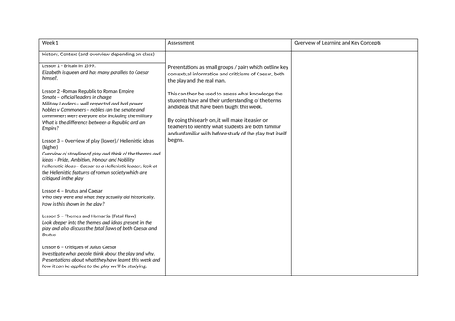 Julius Caesar - Outline Scheme of Work - GCSE Literature