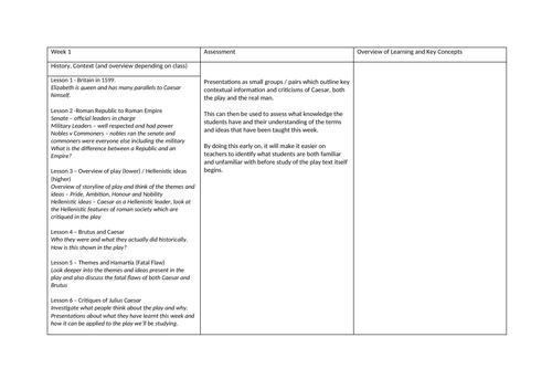 Julius Caesar - Outline Scheme of Work - GCSE Literature