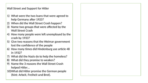 Mini Quizzes Hitler Rise to Power
