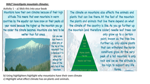 Mountain climate activity sheet with questions
